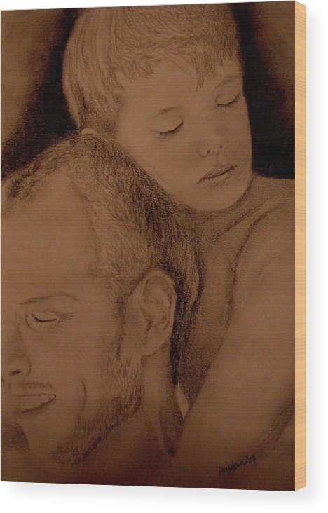 Portrait Wood Print featuring the painting Father And Son by Glory Fraulein Wolfe