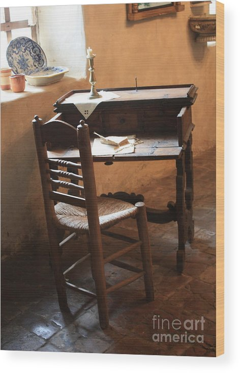 Carmel Mission Wood Print featuring the photograph Father Serra's Desk by Carol Groenen