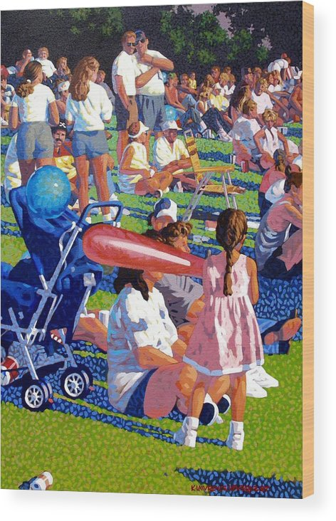 People Wood Print featuring the painting Festival by Kevin Lawrence Leveque