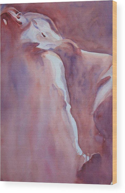 Nude Male Wood Print featuring the painting Figure Of The Artist 13 by Ken Daugherty