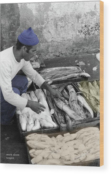 Tangier Wood Print featuring the photograph Fisherman by Mark Alesse