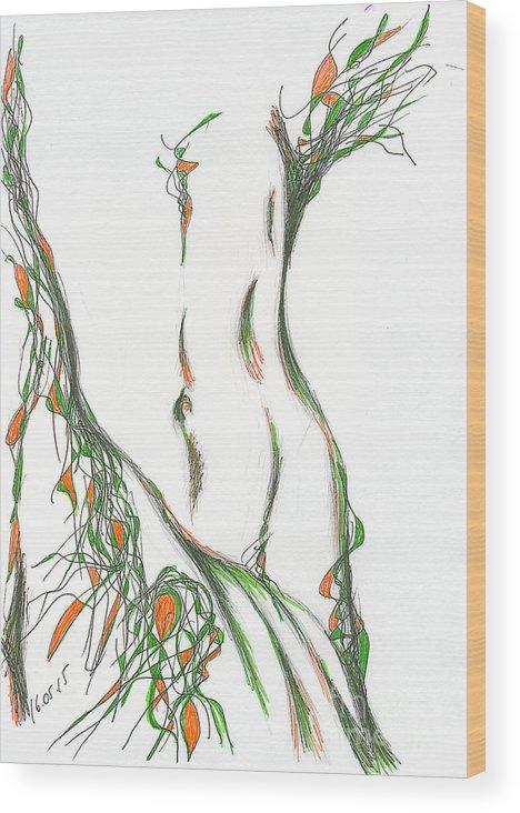 Figure Wood Print featuring the drawing figure. 16 March, 2015 by Tatiana Chernyavskaya
