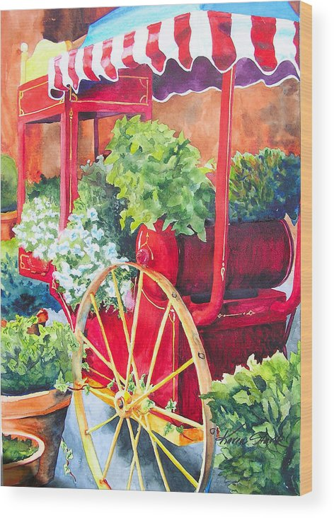 Floral Wood Print featuring the painting Flower Wagon by Karen Stark