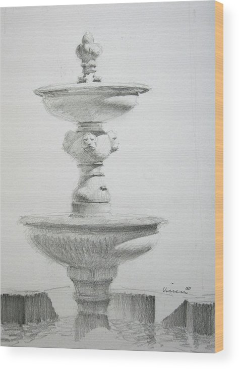 Graphite On Paper Wood Print featuring the drawing Fountain One by Michael Vires