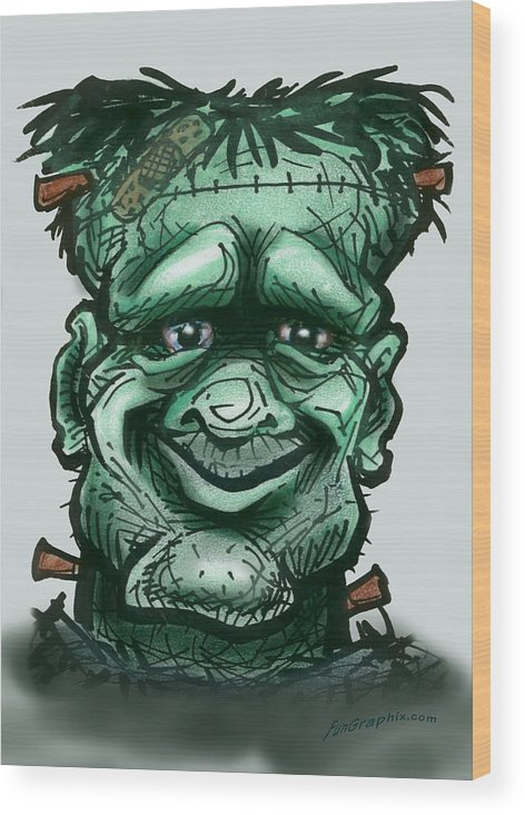 Frankenstein Wood Print featuring the greeting card Frankenstein by Kevin Middleton