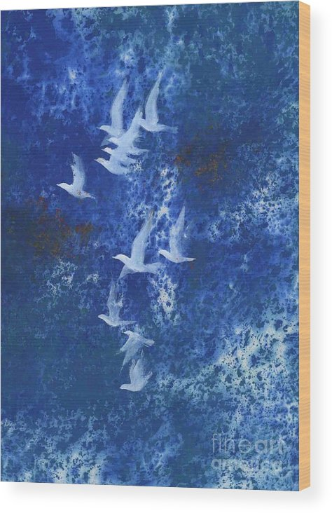 A Flight Of Doves Flying In Blue Sky. This Is A Contemporary Chinese Ink And Color On Rice Paper Painting With Simple Zen Style Brush Strokes.  Wood Print featuring the painting Free by Mui-Joo Wee