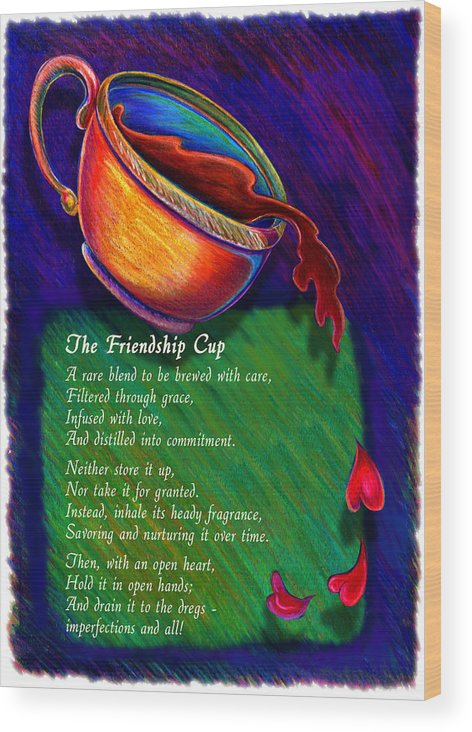 Coffee Wood Print featuring the drawing Friendship Cup by Anne Nye