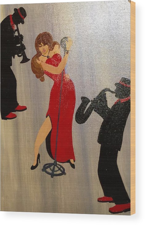 Musical Ensemble Wood Print featuring the painting Front And Center by Gilda Thomas