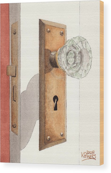 Lock Wood Print featuring the painting Glass Door Knob And Passage Lock Revisited by Ken Powers