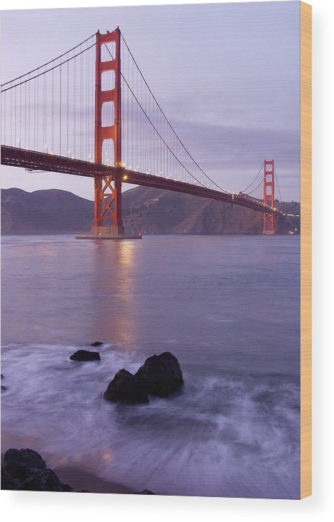 Golden Gate Wood Print featuring the photograph Golden Gate Bridge At Dusk by Mathew Lodge