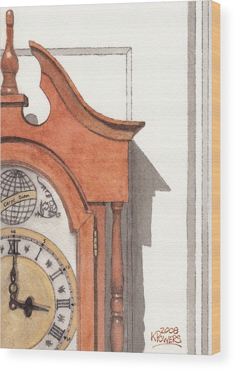 Watercolor Wood Print featuring the painting Grandfather Clock by Ken Powers