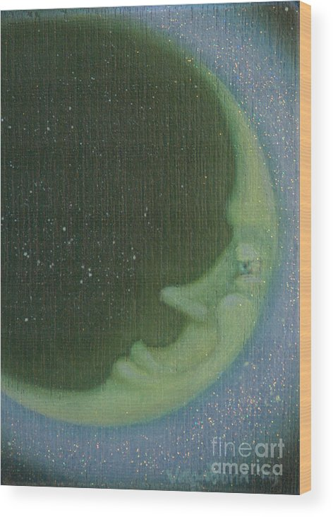 Moon Wood Print featuring the painting Green Moon by Suzn Art Memorial