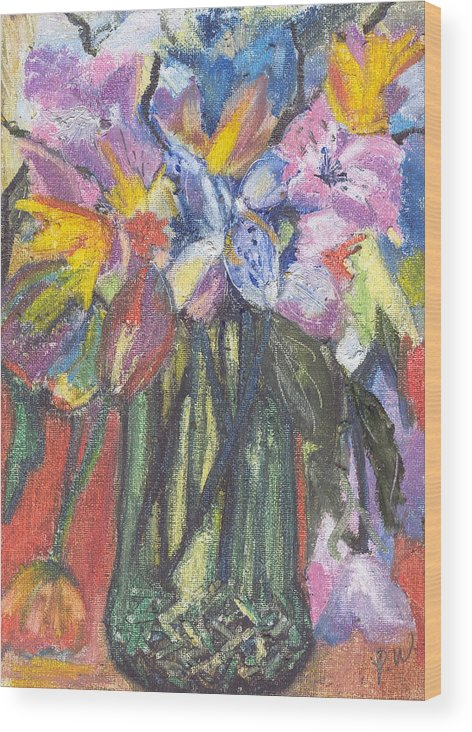 Oil Pastels Wood Print featuring the painting Green Vase by Pamela Wilson