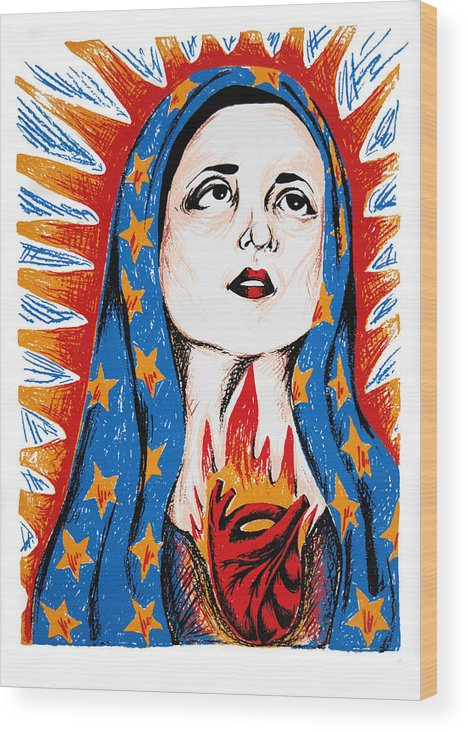 Deann Acton Wood Print featuring the print Guadalupe by DeAnn Acton