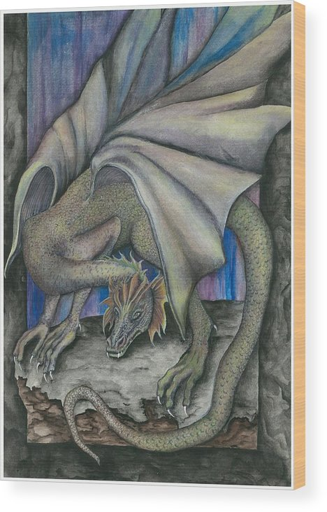 Dragon Wood Print featuring the painting Guardian Dragon by Sally Balfany