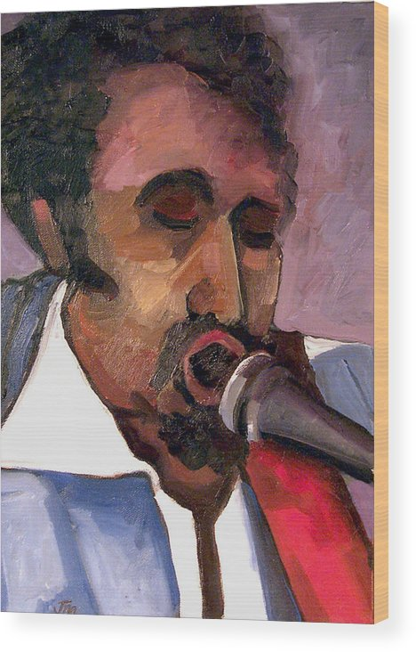 Musician Wood Print featuring the painting Guitar Tommy Parker by Jackie Merritt