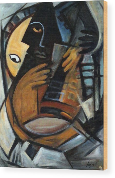 Cubism Wood Print featuring the painting Guitarist by Valerie Vescovi