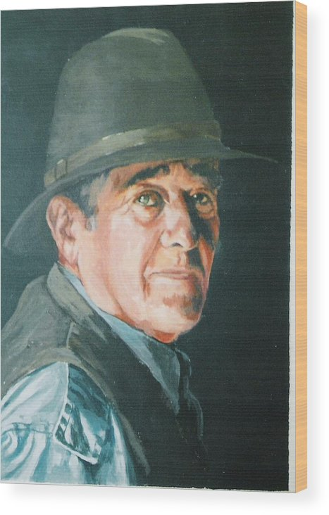 Portrait Of Man. Wood Print featuring the painting Hans by Barry Smith