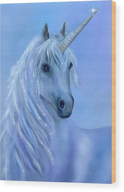 Unicorn Wood Print featuring the painting Healing Unicorn by Sundara Fawn