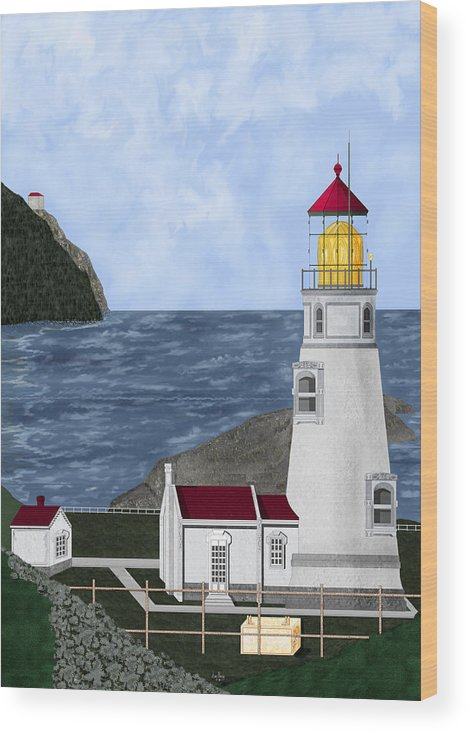 Lighthouse Wood Print featuring the painting Heceta Head Oregon by Anne Norskog