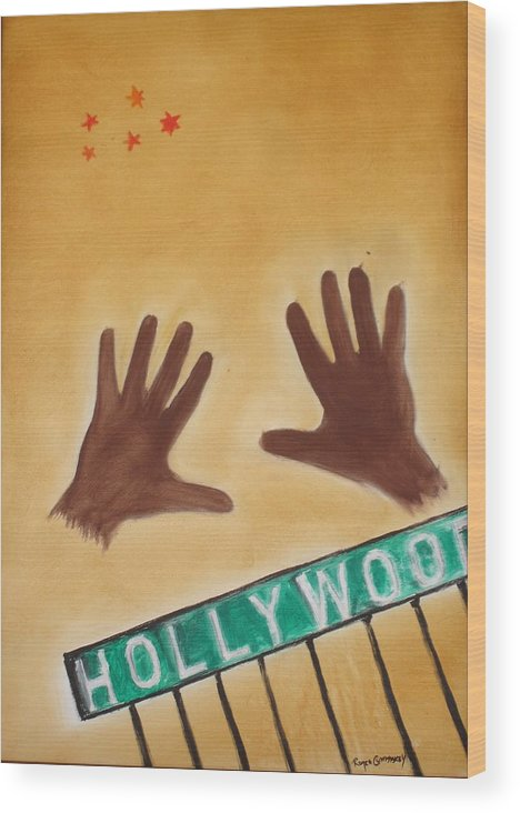 Cinema Film Wood Print featuring the painting Hollywood by Roger Cummiskey