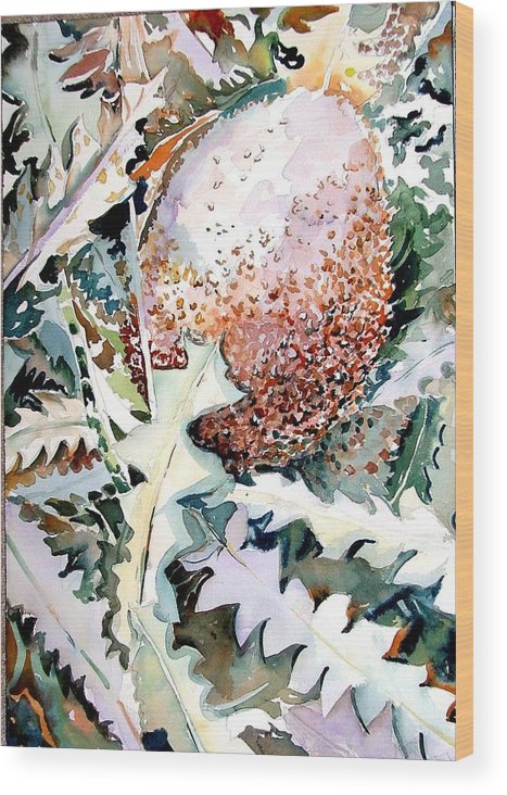 Flower Wood Print featuring the painting Ikabani by Mindy Newman