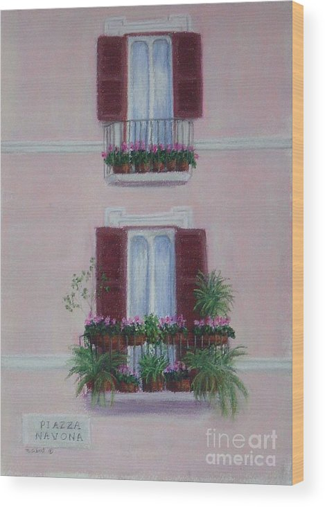 Window Boxes Wood Print featuring the painting Il Terrazo In Roma Piazza Navona by Mary Erbert