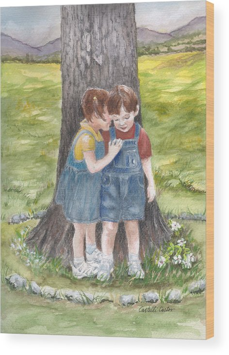 Children Wood Print featuring the painting I'll Tell You A Secret by JoAnne Castelli-Castor