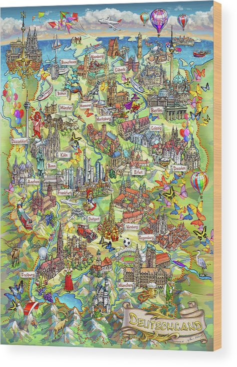 Map Of Germany To Print.Illustrated Map Of Germany Wood Print