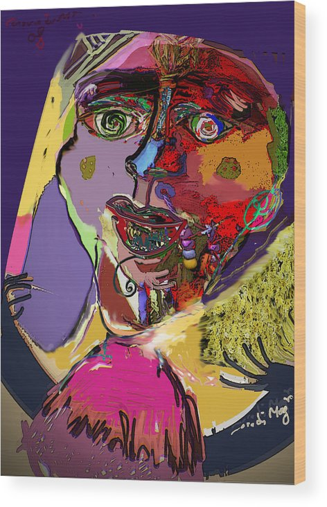 Mask Wood Print featuring the painting I'm Not What You Think I'm by Noredin Morgan