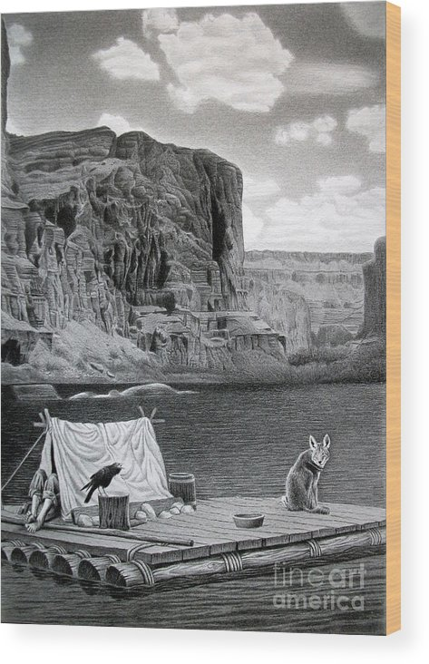 Grand Canyon Wood Print featuring the drawing In The Grand Canyon by Miro Gradinscak