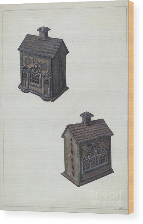 "Wood Print featuring the drawing Iron ""bank"" Bank by Clementine Fossek"
