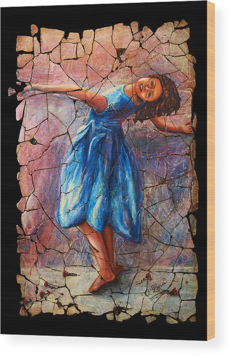 Isadora Duncan Wood Print featuring the painting Isadora Duncan - 1 by Lena Owens OLena Art
