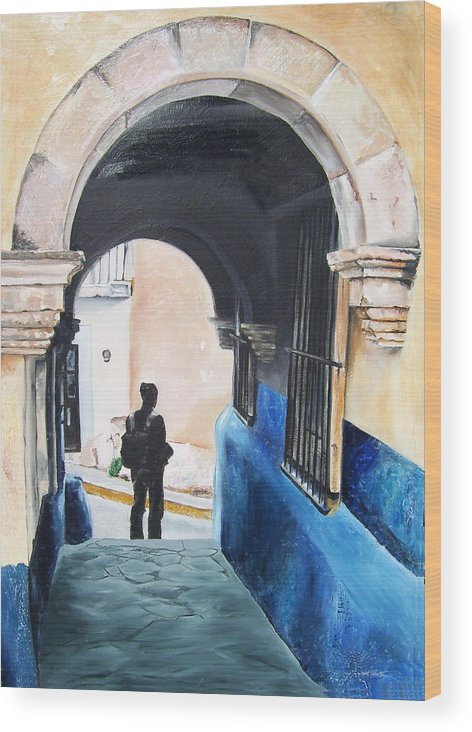 Archway Wood Print featuring the painting Ivan In The Street by Laura Pierre-Louis