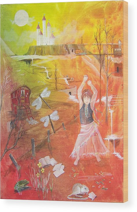 Gypsy Wood Print featuring the painting Jayzen - The Little Gypsy Dancer by Jackie Mueller-Jones