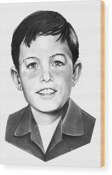 Portrait Wood Print featuring the drawing Jerry Mathers-as The Beaver-murphy Elliott by Murphy Elliott
