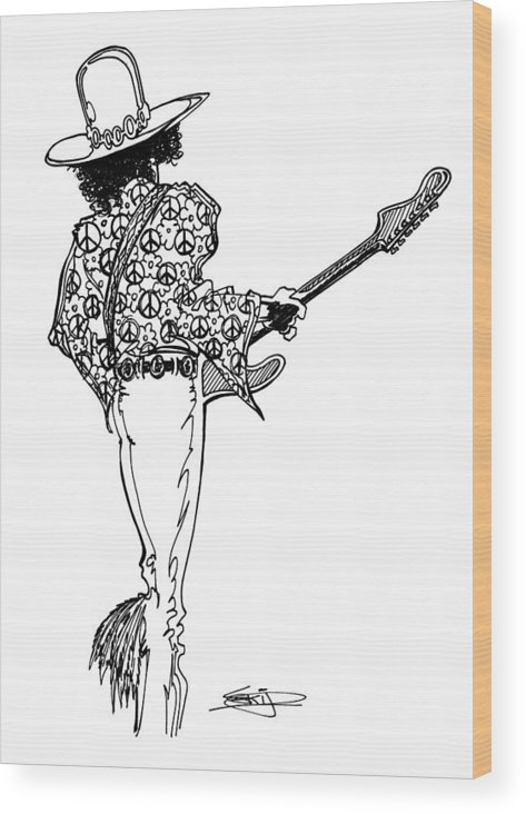Guitar Wood Print featuring the painting J.h.2 by SKIP Smith