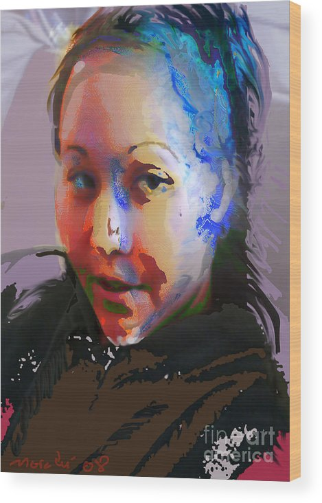 Portrait Wood Print featuring the mixed media Kime by Noredin Morgan