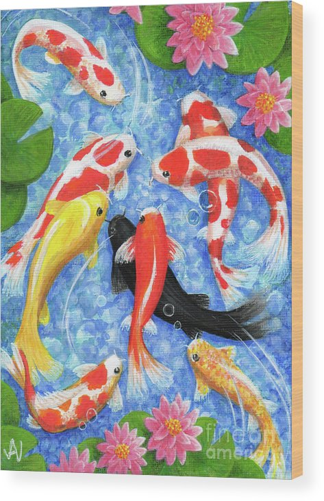 Koi Wood Print featuring the painting Koi Fish by Julia Underwood