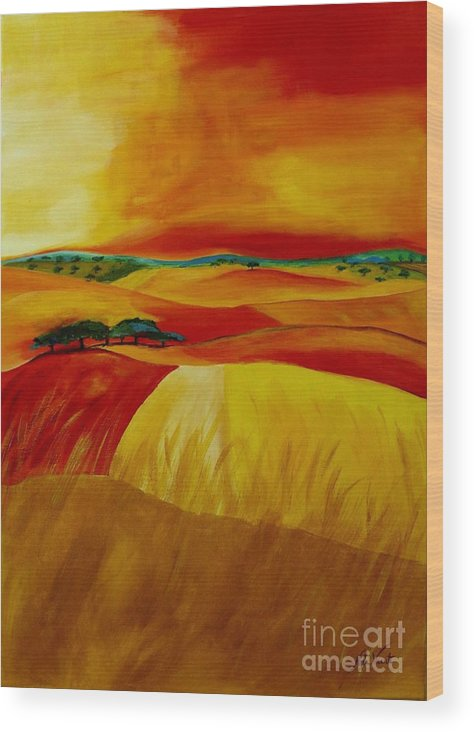 Landscape Wood Print featuring the painting Landscape Of Alentejo by Nela Vicente
