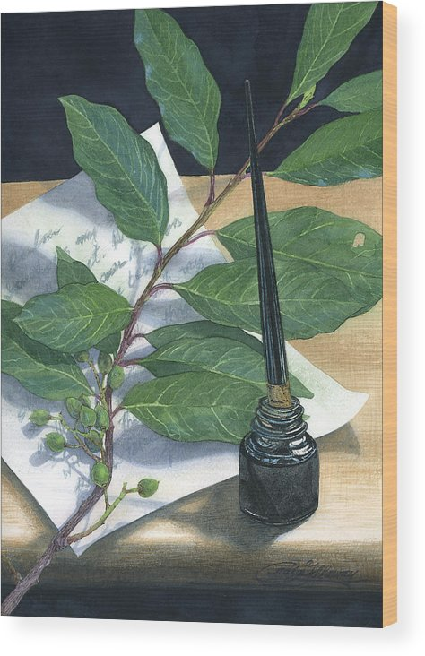 Leaves Wood Print featuring the painting Laurel by Craig Gallaway