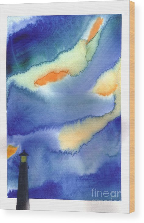 A Lighthouse In A Beautiful Stormy Night. This Is A Contemporary Watercolor Painting. Wood Print featuring the painting Lighthouse by Mui-Joo Wee