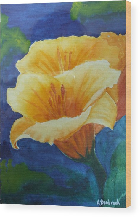 Lilies Wood Print featuring the painting Lilies by Ally Benbrook