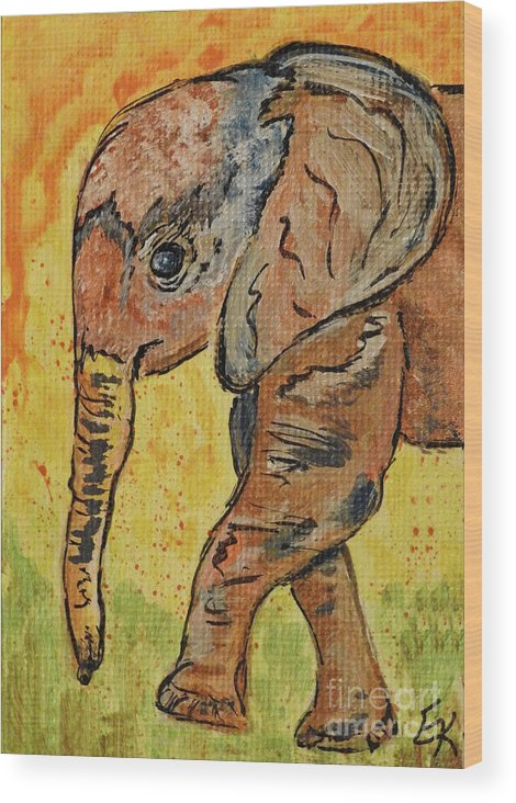 d2240fac1 Elephant Wood Print featuring the painting Little Miss Elephant Art Print  by Ella Kaye Dickey