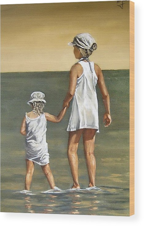 Little Girl Reflection Girls Kids Figurative Water Sea Seascape Children Portrait Wood Print featuring the painting Little Sisters by Natalia Tejera