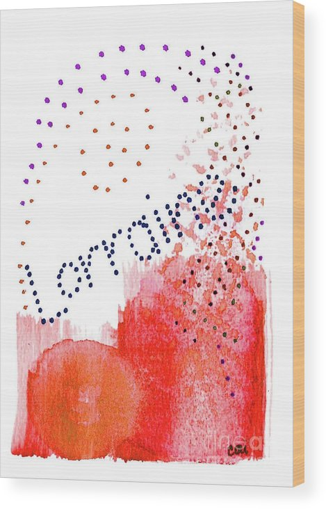 Abstract Wood Print featuring the painting Lorainne 2 by Corinne Carroll