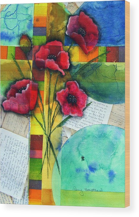 Poppies Abstract Red Collage Papers Acrylic Watercolor Wood Print featuring the painting Love Letters by Terry Honstead