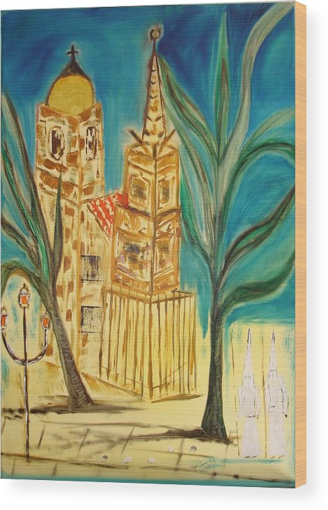 Spain Wood Print featuring the painting Malaga by Roger Cummiskey