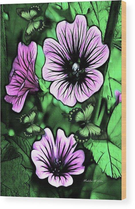 Smudgeart Wood Print featuring the digital art Malva Flowers by Madeline Allen - SmudgeArt