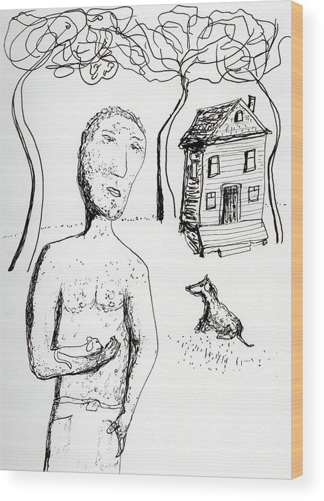 Puppy Wood Print featuring the drawing Man With Puppy by Jim Taylor